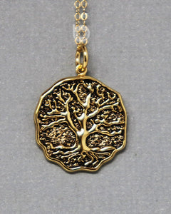 Gold Vermeil Over Sterling Silver Vermeil Tree Of Life Charm -- VM/CH4/CR147 - Beadspoint