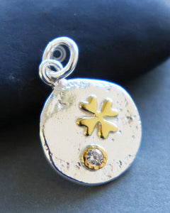 Gold Vermeil Over Sterling Silver Two Tone Cross Charm -- SS/CH2/CR107 - Beadspoint