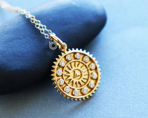 Gold Vermeil Over Sterling Silver Sun Bracelet Charm -- VM/CH7/CR80 - Beadspoint