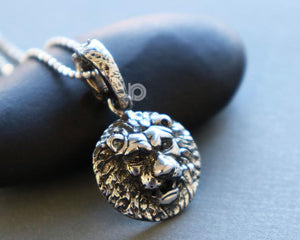 Sterling Silver Lion Head Charm -- SS/CH7/CR76 - Beadspoint