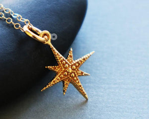 Gold Vermeil Over Sterling Silver True North Star Charm -- VM/CH5/CR48