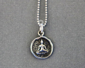 Sterling Silver Artisan Buddha Charm -- SS/CH2/CR104 - Beadspoint