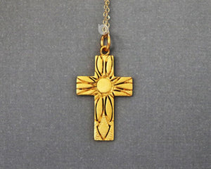 Gold Vermeil Over Sterling Silver Holy Spirit Cross Charm -- VM/CH1/CR50 - Beadspoint