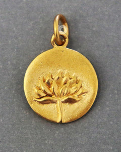 Gold Vermeil Over Sterling Silver Lotus Flower Charm -- VM/CH2/CR87