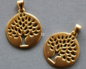Gold Vermeil Over Sterling Silver Tree Of Life Jump Ring Charm -- VM/CH4/CR117 - Beadspoint