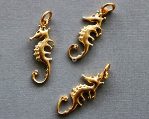 Gold Vermeil Over Sterling Silver Sea Horse Charm -- VM/CH7/CR69