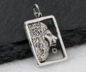 Sterling Silver Artisan Lion Head Charm -- SS/CH7/CR86 - Beadspoint