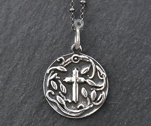 Sterling Silver Artisan Cross Charm  -- SS/CH1/CR68 - Beadspoint