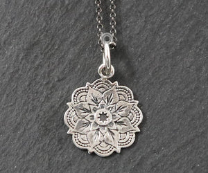 Sterling Silver Artisan Lotus Charm -- SS/CH2/CR142 - Beadspoint