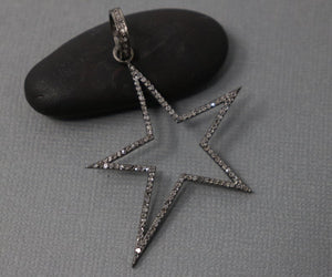 Pave Diamond Elongated Star Pendant -- DP-1975 - Beadspoint