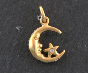 Gold Vermeil on Sterling Silver Star Moon charm -- VM/CH5/CR66 - Beadspoint