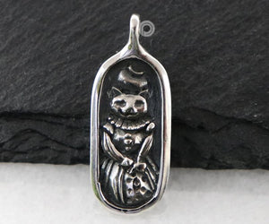 Sterling Silver Artisan Scrooze Cat Charm  -- SS/CH7/CR101 - Beadspoint