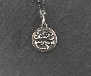 Sterling Silver Lotus Charm -- SS/CH2/CR122 - Beadspoint