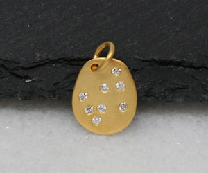 Gold Vermeil Over Sterling Silver Tag Charm with White Sapphire -- VM/CH11/CR31 - Beadspoint