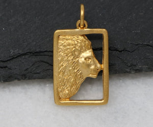 Gold Vermeil Over Sterling Silver Lion Face Charm -- VM/CH7/CR86 - Beadspoint