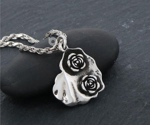 Sterling Silver Rose Heart Charm -- SS/CH4/CR127 - Beadspoint