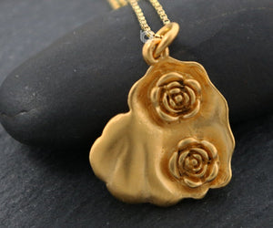 Gold Vermeil on Sterling Silver Rose Heart Charm-- VM/CH4/CR127 - Beadspoint