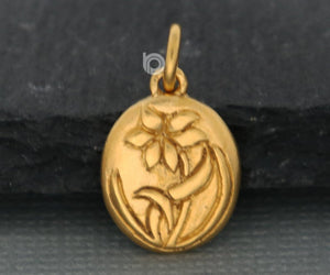 Gold Vermeil on Sterling Silver Magnolia Blossom Charm -- VM/CH4/CR128