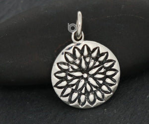 Sterling Silver Daisy SunFlower Charm -- SS/CH4/CR158 - Beadspoint