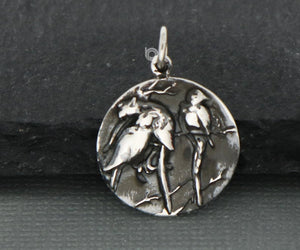 Sterling Silver Artisan Handmade Bird Nesting Family Charm -- SS/CH6/CR55 - Beadspoint