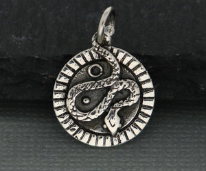 Sterling Silver Snake Coin Charm  -- SS/CH7/CR94 - Beadspoint