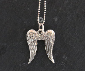 Sterling Silver Artisan Angel Wings Charm   -- SS/CH1/CR70 - Beadspoint