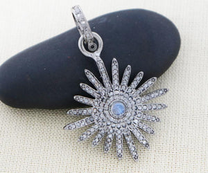 Pave Diamond Starburst Pendant 3 Finishes-- DP-1997 - Beadspoint