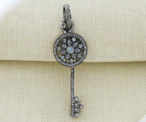 Pave Diamond Key Pendant with Moonstone, (DPM-1145) - Beadspoint