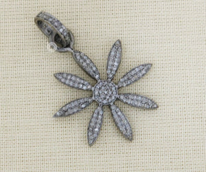 Pave Diamond Daisy Flower Pendant 3 Finishes -- DPS-054 - Beadspoint