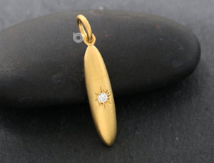 Gold Vermeil Over Sterling Silver Teardrop Necklace Charm -- VM/C11/CR24