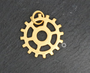 Gold Vermeil Over Sterling Silver Steam Punk Necklace Charm -- SS/CH12/CR2 - Beadspoint