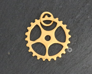 Gold Vermeil Over Sterling Silver Steam Punk Charm -- VM/CH12/CR14