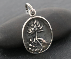 Sterling Silver Artisan Buddha Hand Holding a Lotus Charm -- SS/CH4/CR137 - Beadspoint