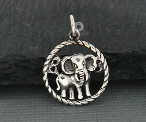 Sterling Silver Baby Elephant Charm  -- SS/CH7/CR92 - Beadspoint