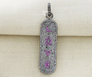 Pave Diamond Ruby Love Pendant 3 Finishes-- DPL-2247 - Beadspoint