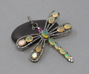 Pave Diamond Opal Dragonfly Pendant -- DP-1982 - Beadspoint