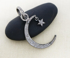 Pave Diamond Crescent Moon and Star Pendant -- DPM-1068 - Beadspoint