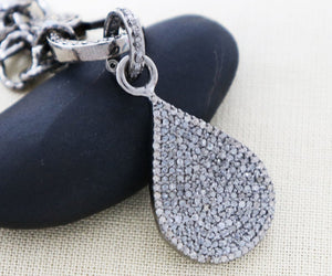 Pave Diamond Drop Pendant -- DPS-036 - Beadspoint