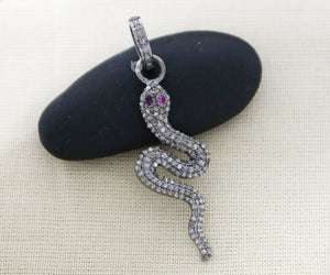 Pave Diamond Snake Pendant 3 Finishes-- DP-2017 - Beadspoint