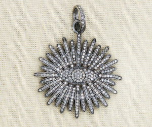 Pave Diamond Starburst Pendant 3 Finishes-- DPL-2367 - Beadspoint