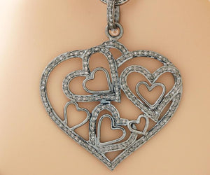 Pave Diamond Heart Pendant 3 Finishes -- DP-2079 - Beadspoint