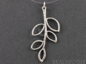 Sterling Silver Long Leaf Charm -- SS/CH4/CR22 - Beadspoint