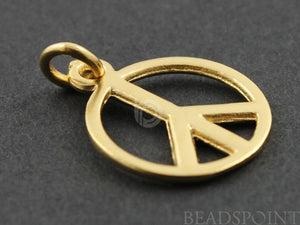 24K Gold Vermeil Over Sterling Silver Circle With Peace Charm -- VM/CH8/CR21