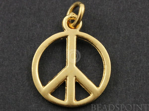 24K Gold Vermeil Over Sterling Silver Circle With Peace Charm -- VM/CH8/CR21 - Beadspoint