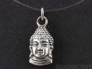 Sterling Silver Artisan Buddha Head Charm -- SS/CH2/CR30 - Beadspoint