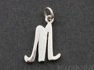 "Sterling Silver Initial ""M"" Initial Charm -- SS/2033/M - Beadspoint"