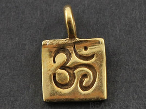 24K Gold Vermeil Over Sterling Silver OHM Stamped in Square Charm -- VM/CH2/CR31 - Beadspoint