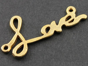 24K Gold Vermeil Over Sterling Silver Love Charm -- VM/CH3/CR8 - Beadspoint