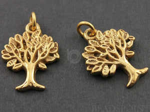24K Gold Vermeil Over Sterling Silver Tree Charm  -- VM/CH4/CR35