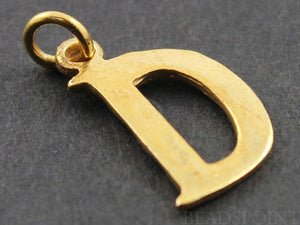 "Gold Vermeil Over Sterling Silver Letter ""D"" Initial Charm -- VM/2032/D"